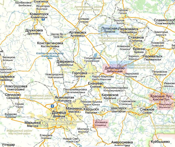 Дебальцово и направление Красного Луча